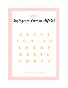 Instagram Termen Alfabet voorpagina
